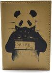 Кожаная обложка на паспорт. Панда