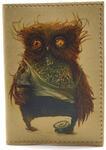 Кожаная обложка на паспорт. Филин