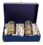 Подарочный набор c 2-мя подстаканниками в шкатулке (6 предметов). Москва и Славься Отечество