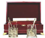 Подарочный набор c 2-мя подстаканниками в шкатулке (6 предметов). Тройка и сударыня
