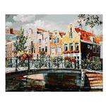 Раскрашивание по холсту. Размер холста 40*50 см. Амстердам. Мост через канал