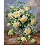 Раскрашивание по холсту. Размер холста 40*50 см. Белые розы.
