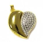 Подарочная металлическая флешка-подвеска. Сердце. Цвет - золото
