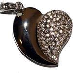 Подарочная металлическая флешка. Сердце. Цвет - серебро