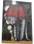 Кожаная обложка на паспорт. Котик с красным зонтом