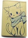 Кожаная обложка на паспорт. Котенок с бантом