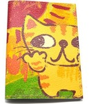 Кожаная обложка на паспорт. Котик