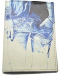 Кожаная обложка на паспорт. Джинсы