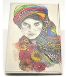 Кожаная обложка на паспорт. Девушка в платке