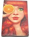 Кожаная обложка на паспорт. Девушка и апельсин