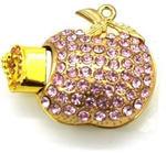 Ювелирная флешка-кулон. Яблоко в стразах (цвет розовый)