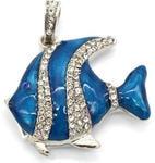 Ювелирная флешка-кулон. Рыбка в стразах (цвет синий)