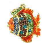Ювелирная флешка-кулон. Рыбка в стразах (цвет оранжевый)