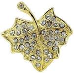 Ювелирная флешка. Кленовый лист в стразах (цвет золото)