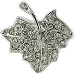 Ювелирная флешка. Кленовый лист в стразах (цвет серебро)