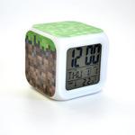 Настольные часы-будильник с подсветкой Майнкрафт. Куб земли
