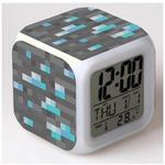 Настольные часы-будильник с подсветкой Майнкрафт. Блок алмазной руды