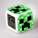 Настольные часы-будильник с подсветкой Майнкрафт. Крипер