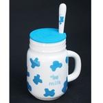 Подарочная керамическая кружка с силиконовой крышкой. Milk (цвет голубой)
