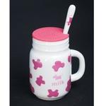 Подарочная керамическая кружка с силиконовой крышкой. Milk (цвет розовый)