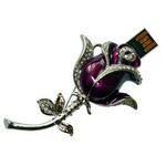 Ювелирная флешка-брошь. Роза со стразами на стебле (цвет фиолетовый)