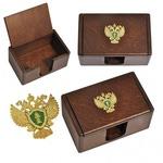 Подарочная деревянная визитница с откидной крышкой. Прокуратура РФ