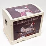 Подарочный деревянный сундук. Курица (39х29х38см)