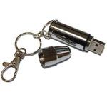 Подарочная металлическая флешка. Патрон пистолетный цвет серебро