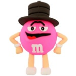 Подарочная флешка. M&M`s в шляпе розовый