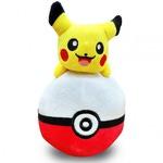 Плюшевая игрушка Покемон. Пикачу на красном Покеболе (12 см)