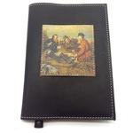 Подарочный ежедневник в кожаной обложке. Охотники на привале (цвет черный)