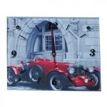 Настенные стеклянные часы. Красный кабриолет (20 х 25 см)