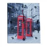 Настенные стеклянные часы. Лондон. Телефонные будки (20 х 25 см)