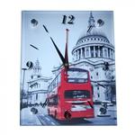 Настенные стеклянные часы. Лондон. Двухэтажный автобус (20 х 25 см)
