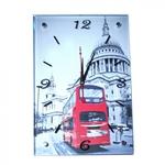Настенные стеклянные часы. Лондон. Двухэтажный автобус (38 х 26 см)