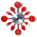 Настенные металлические часы. Вилки, ложки, поварешки (цвет красный)