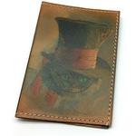 Кожаная обложка на паспорт. Чеширский кот