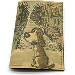Кожаная обложка на паспорт. Щенок