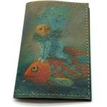 Кожаная обложка на паспорт. Девочка на рыбке