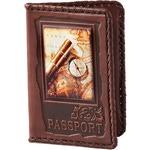 Кожаная обложка на паспорт. «Вокруг света»