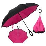 Зонт Наоборот (цвет розово-черный)