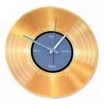 Часы настенные. Виниловая пластинка золотая (диаметр 30 см)