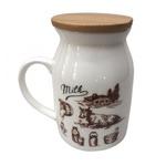 Подарочная кружка с бамбуковой крышкой. Бидон молока. Корова