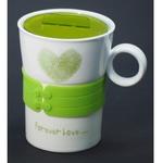 Подарочная керамическая кружка с крышкой. Любовь навсегда (цвет зеленый)