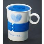 Подарочная керамическая кружка с крышкой. Любовь навсегда (цвет синий)