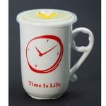 Подарочная керамическая кружка с крышкой. Часы (цвет красный)