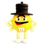 Подарочная флешка. M&M`s в шляпе. Цвет желтый