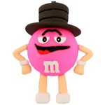 Подарочная флешка. M&M`s в шляпе. Цвет розовый