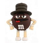 Подарочная флешка. M&M`s в шляпе. Цвет коричневый