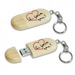 Подарочная деревянная флешка-брелок. I Love You (8 ГБ)